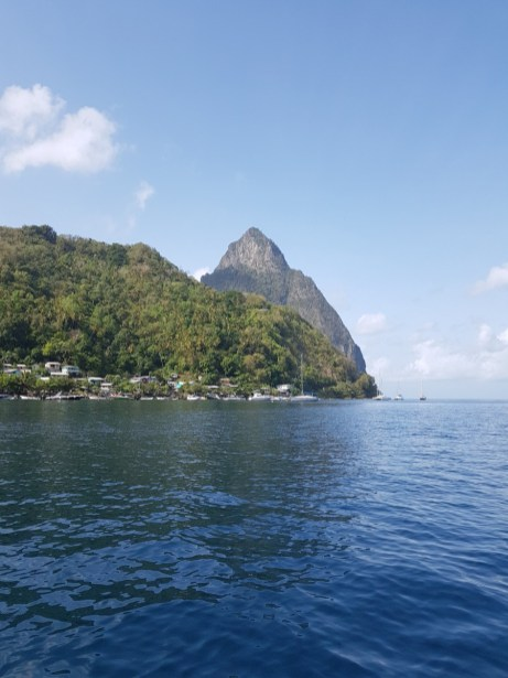 Pitons view from the sea