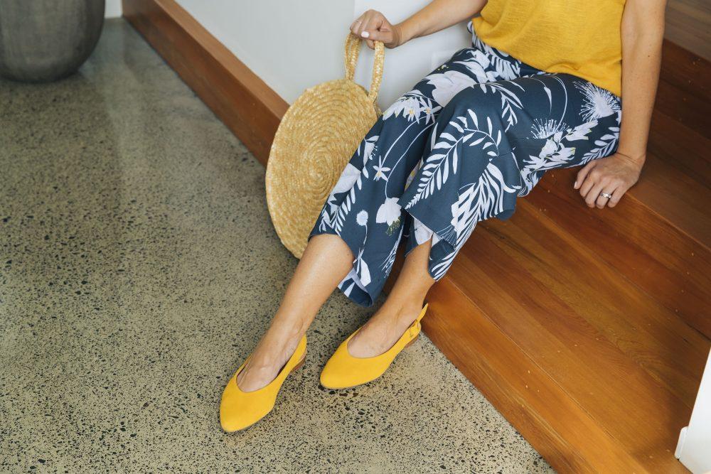 "Ziera ""Lisa"" mustard suede flat shoes"