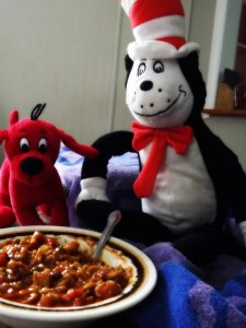 Cat in the Hat & Clifford. Also a bowl of soup and a beach towel.