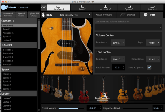 Line 6 Workbench allows you to virtually build different guitars