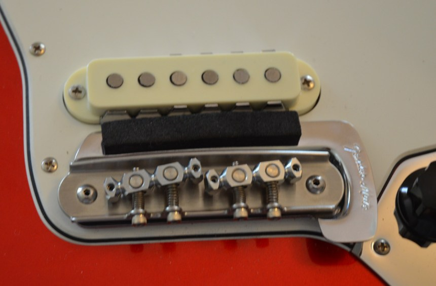 Installed Mastery Bridge over the Fender Mute