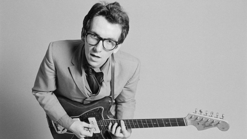 Elvis Costello playing his iconic Jazzmaster