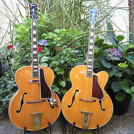 1939 & 1940 Gibson L-5's. The Premier cutaway and non-cutaway models