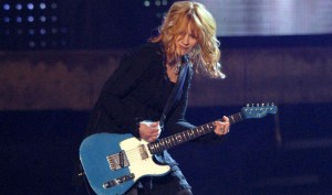 Nancy Wilson with her Telecaster