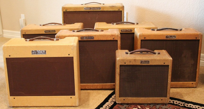 1956 Bandmaster, 1959 Vibrolux, 1960 Deluxe, 1959 Harvard, 1960 Princeton, 1952 Deluxe, 1960 Champ