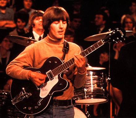 George Harrison with his Gretsch Tennessean