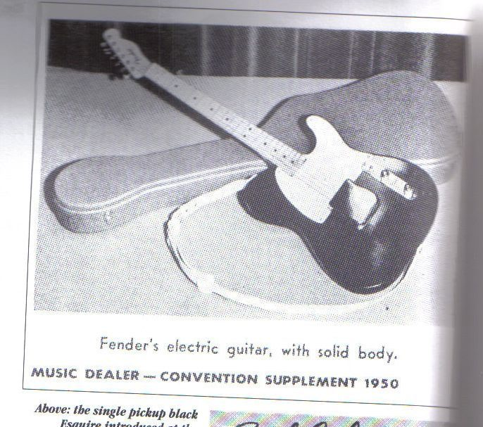 1950 Fender Announces Esquire (in black with white pickguard)