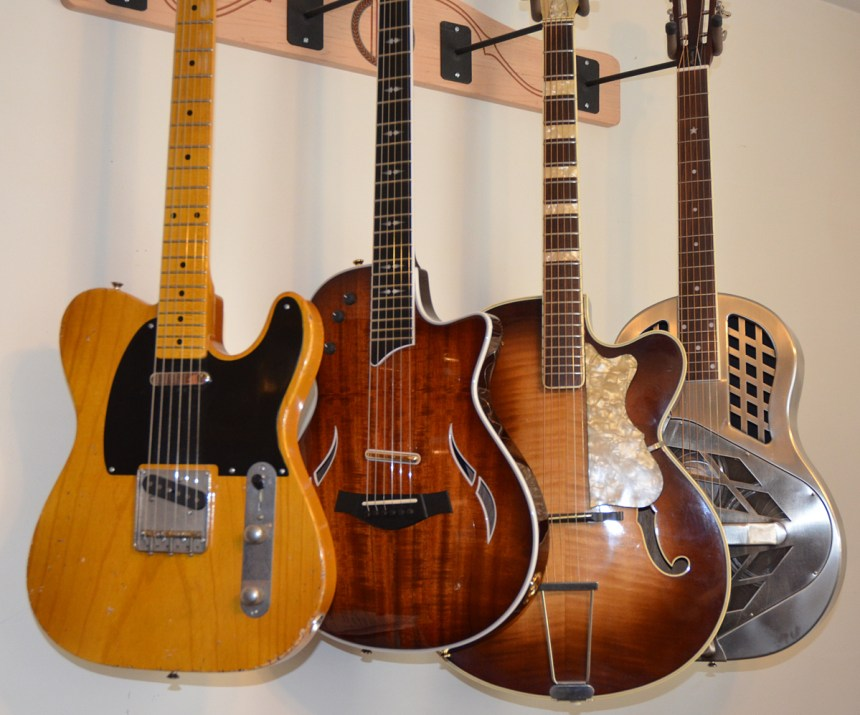 Fender Broadcaster Tribute, Taylor T5z Custom Koa, Hofner Archtop, Republic Tri-cone
