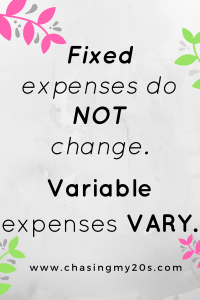 Fixed / Variable Expenses Graphic