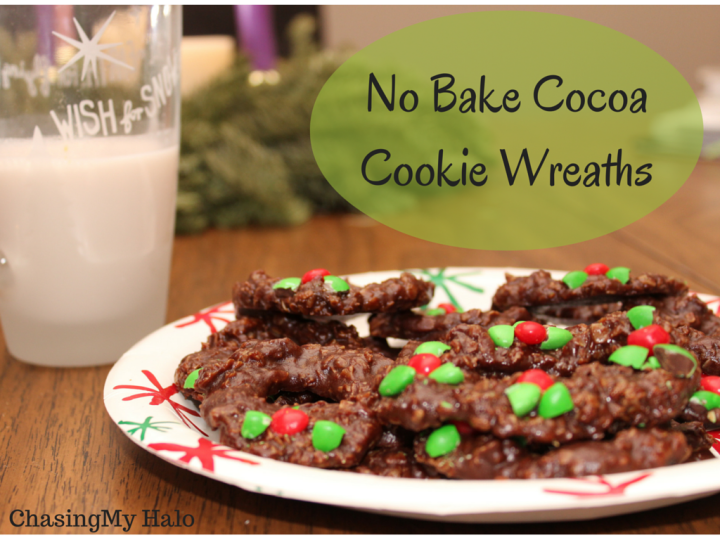 No Bake Cocoa Wreath Cookies