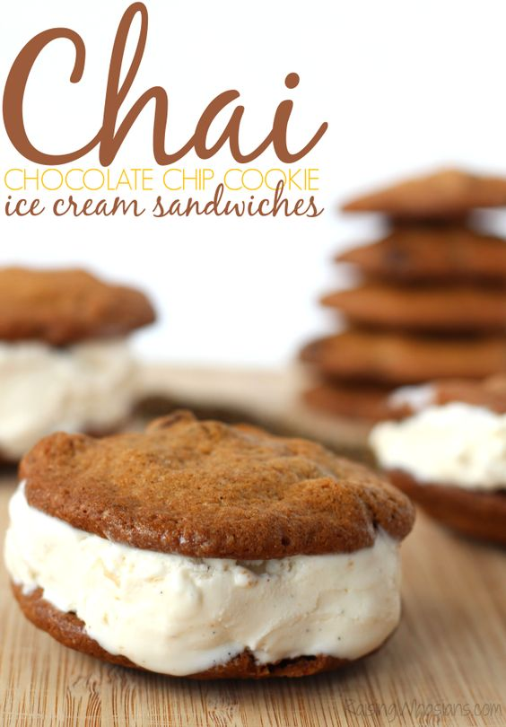 Chai Chocolate Chip Cookie Ice Cream Sandwiches from Raising Whasians