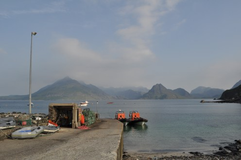 Elgol harbour with to boats and the Cullins in the distance