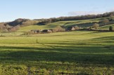 Farm buildings in the distance in Shropshire