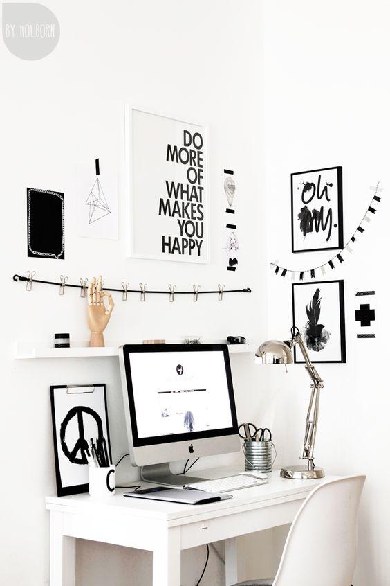 angolo ufficio con gallery wall