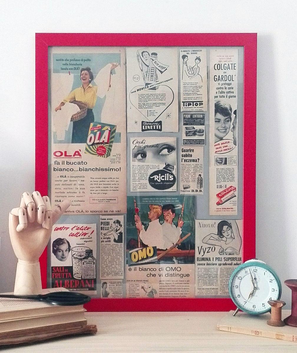 quadro con inserzioni pubblicitarie vintage