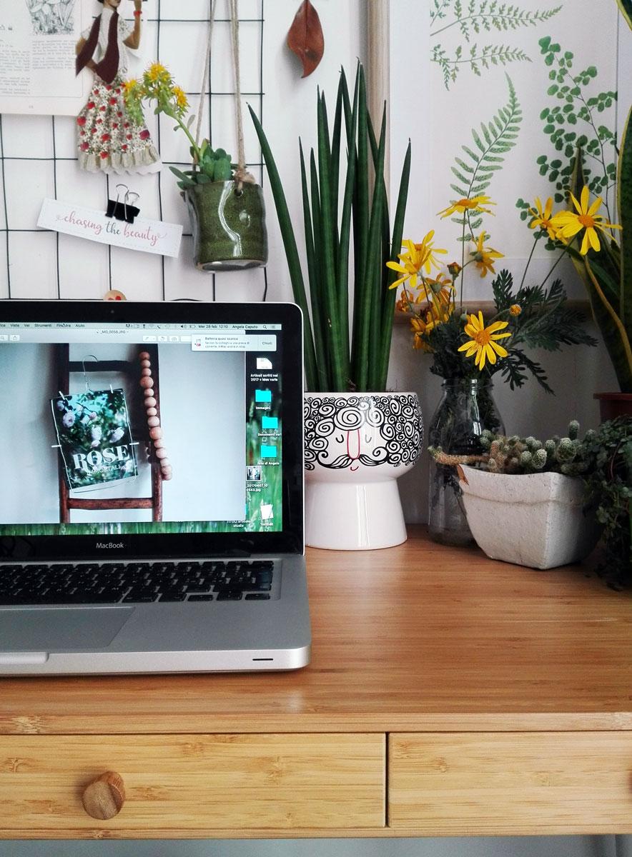 angolo scrivania con piante