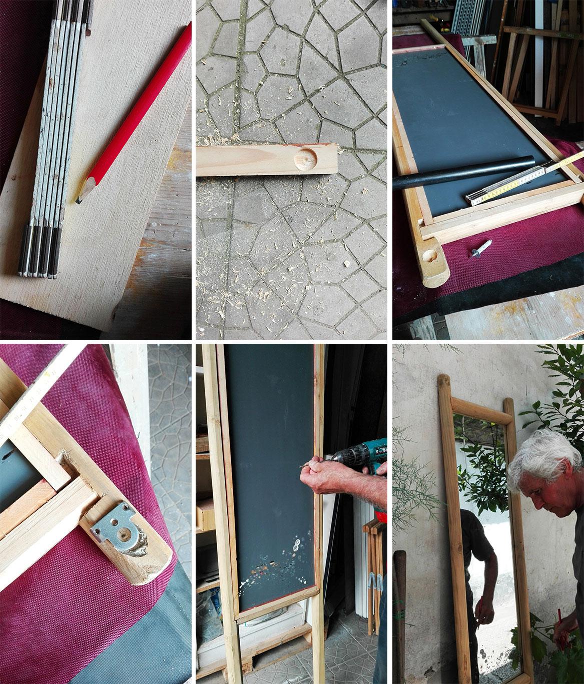 fasi di realizzazione cornice di legno fai da te per specchio