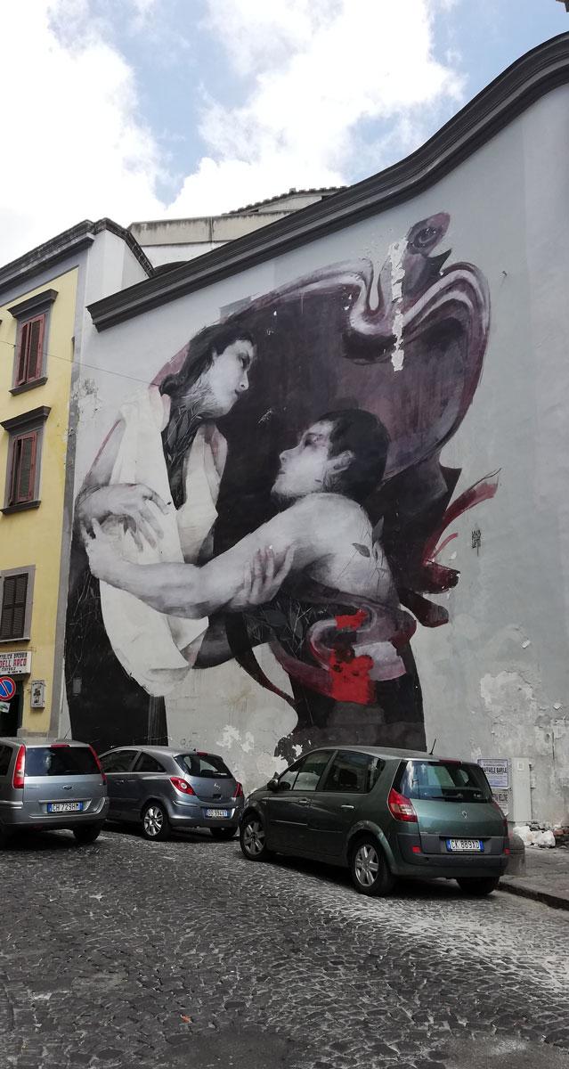 Resit ti amo, murales di Bosoletti nel quartiere Sanità a Napoli