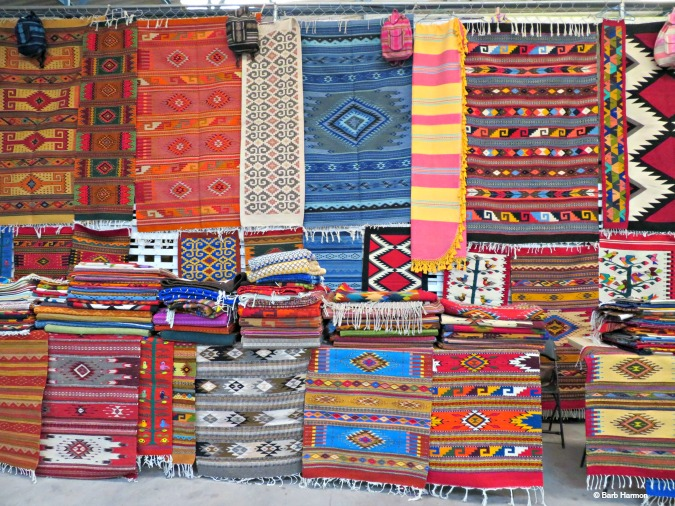 Mexican rugs at the market