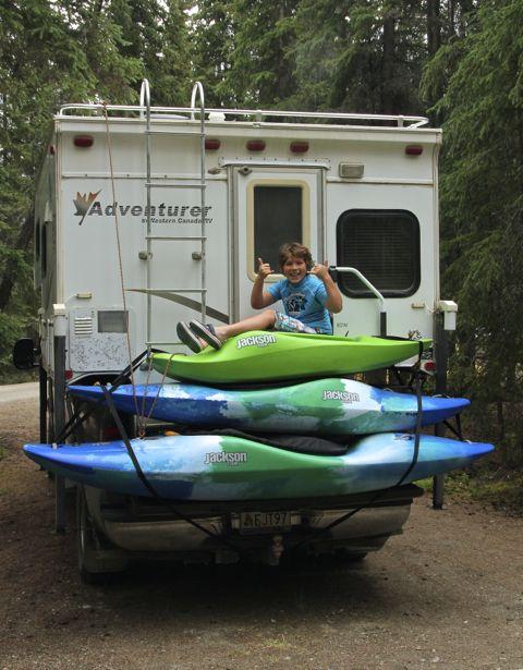 Hunter on kayak pile