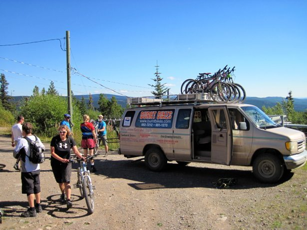 burnt bikes shuttle van