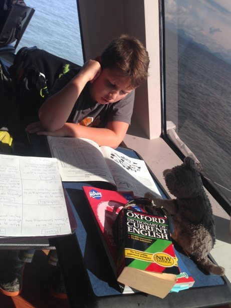 hunter studying on the ferry