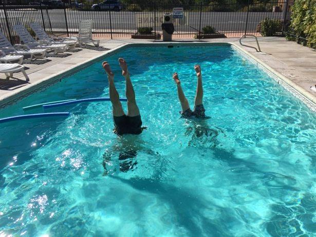 pool handstands