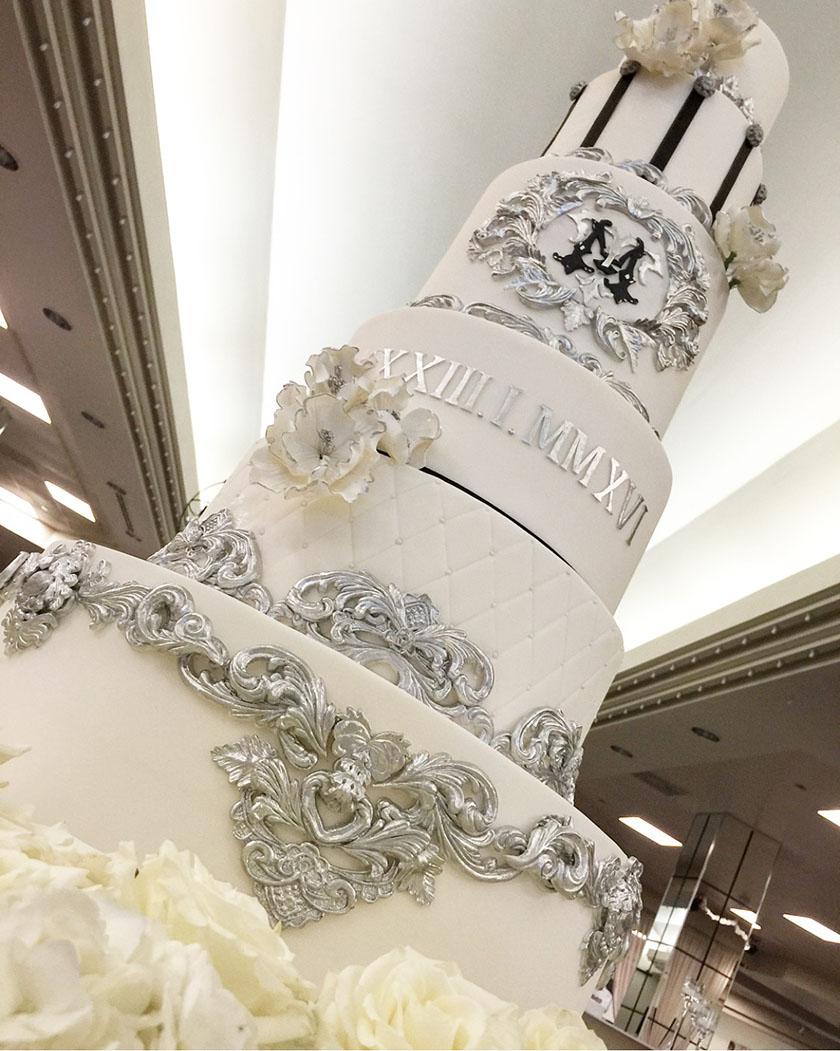 silver-ornate-cake