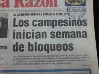 Se inician los bloqueos en el campo (La Razón, abril del 2000)