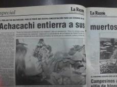 Después de los enfrentamientos más graves los dos comunarios de Achacachi muertos por el ejército son enterrados (La Razón, abril del 2000)