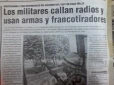 Militares atentan contra medios de comunicación de las comunidades (La Razón, abril del 2000)