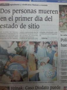 Estado de sitio violento, dos personas son asesinadas en La Paz y Cochabamba (La Prensa, abril del 2000)