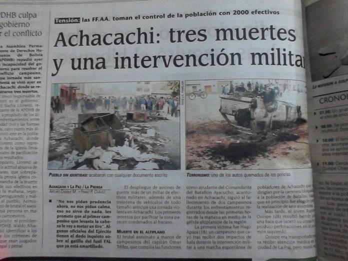 Arde Achacachi. Provincia Omasuyos (La Prensa, 9 de abril del 2000)