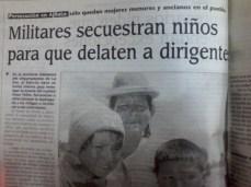 Se denuncia que miitares secuestran a niños para que éstos delaten a los dirigentes (La Prensa, abril del 2000)