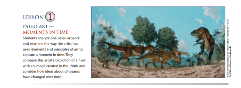 A screencap from a paleoart lesson plan from the Children's Museum of Indianapolis