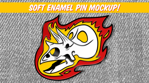Flaming Torosaurus enamel pin design by David Orr
