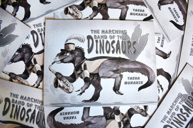 Cover for Tasha Mukanik's Marching Band of the Dinosaurs zine