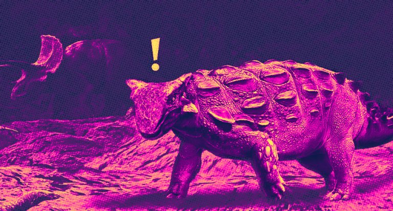 The saurian Ankylosaurus in bold magenta and yellow with an exclamation mark above its head, indicating alarm