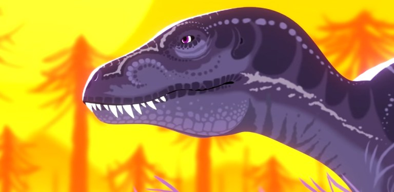 Screencap of Sharp Teeth by David James Armsby depicting a purple gorgosaurus