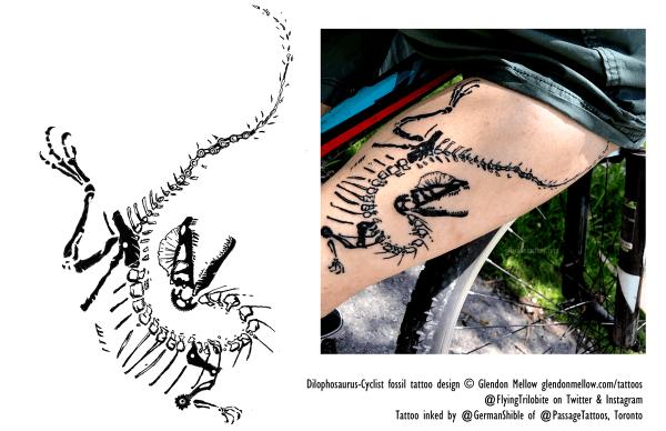 Glendon Mellow's bicycle-infused Dilophosaurus skeleton tattoo art