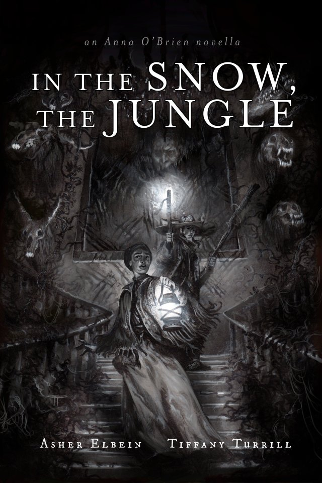 Cover art of Asher Elbein's In the Snow, the Jungle, illustrated by Tiffany Turrill, featuring two women exploring a freaky house full of animal skulls