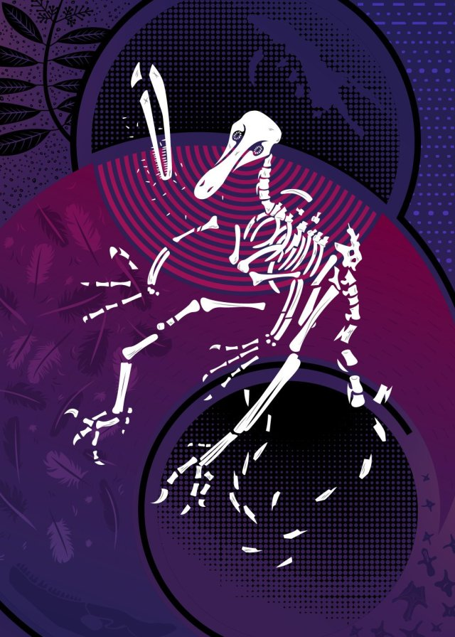 Abstract vector illustrarion of a degraded Buitreraptor skeleton on a geometric background