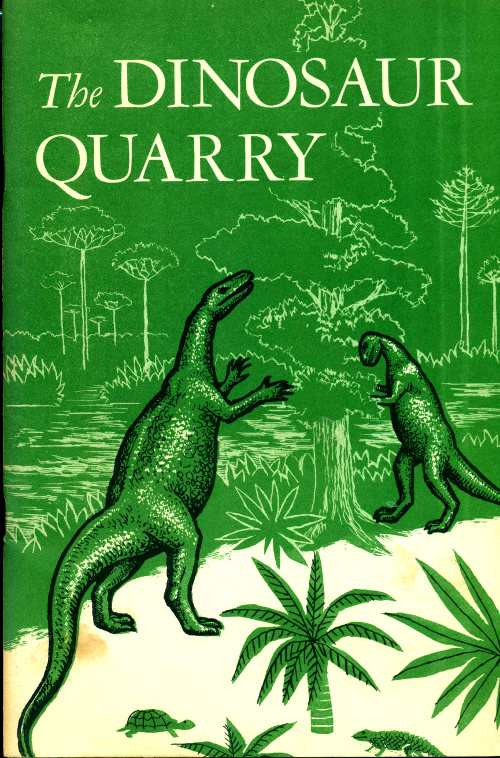 """Cover image of """"The Dinosaur Quarry"""" featuring jurassic dinosaurs and a turtle"""