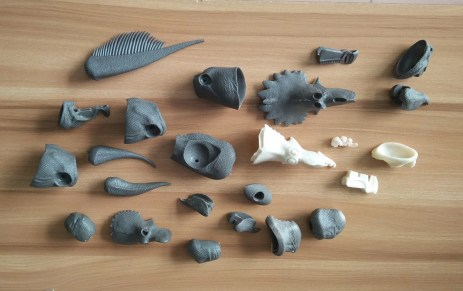 An image of the various parts involved in constructing the Beasts of the Mesozoic figures.