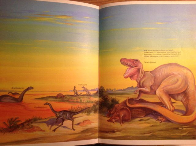 """A spread from """"Then and Now"""" featuring a Tyrannosaurus upon a fallen Triceratops with Ornithomimus, Brontosaurus, and Trachodons."""