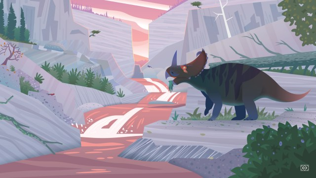 An illustrated scene of a Centrosaurus bull by an upland stream - a ravine of gray and purple stone against a pink sunset sky.