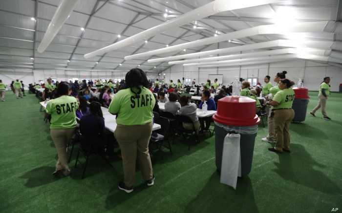 Staff oversee breakfast at the U.S. government's newest holding center for migrant children in Carrizo Springs, Texas, July 9, 2019.