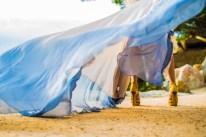 Wedding Dress swirling in the wind