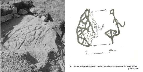 Dalle gravée tel qu'elle a été découverte par Pierre CABANES en 1986