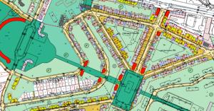 Détail du plan de modiifcaiton: en rouge les bâtiments qui seront conservés.gardés